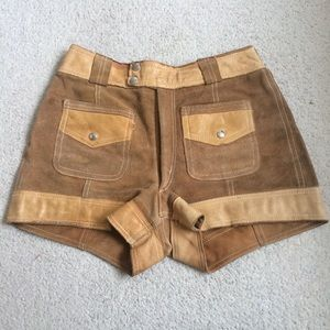 Vintage 70s Suede and Leather High Waisted Shorts